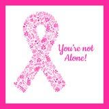 Περίκομψη κορδέλλα του καρκίνου του μαστού Συρμένα χέρι doodle λουλούδια ελεύθερη απεικόνιση δικαιώματος