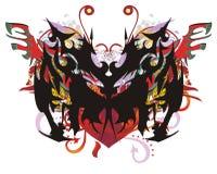 Περίκομψη πεταλούδα με τους κόκκινους παφλασμούς καρδιών και χρώματος Στοκ εικόνες με δικαίωμα ελεύθερης χρήσης