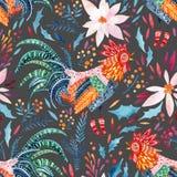 Περίκομψος κόκκορας Watercolor και χαριτωμένα floral στοιχεία στο υπόβαθρο ελεύθερη απεικόνιση δικαιώματος