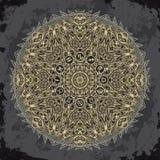 Περίκομψος κύκλος mandala και zodiac με τα σημάδια ωροσκοπίων στο σκοτεινό υπόβαθρο grunge διανυσματική απεικόνιση