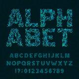 Περίκομψος χαρακτήρας Διακοσμητική πηγή αλφάβητου Επιστολές και αριθμοί επίδρασης σε ένα υπόβαθρο στροβίλου διανυσματική απεικόνιση