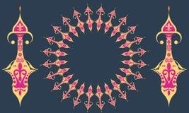 Περίκομψο διανυσματικό πιάτο με την ανατολική, αραβική κυκλική διακόσμηση ύφους Στοκ Φωτογραφία