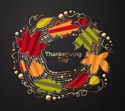 Περίκομψο στεφάνι των φύλλων δέντρων για την ημέρα των ευχαριστιών απεικόνιση αποθεμάτων