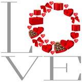 Περίκομψο στρογγυλό πλαίσιο για το σχέδιο καρτών βαλεντίνων Το πλαίσιο από τα κιβώτια, τις καρδιές, τα τόξα και την καρδιά δώρων  διανυσματική απεικόνιση