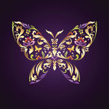 Περίκομψο σύμβολο πεταλούδων με το floral πρότυπο Στοκ εικόνα με δικαίωμα ελεύθερης χρήσης