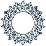 Περίκομψο φυλετικό διανυσματικό στρογγυλό πλαίσιο mandala ήλιων ύφους grunge Στοκ Εικόνα