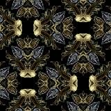 Περίκομψο χρυσό ασημένιο μπαρόκ διανυσματικό άνευ ραφής σχέδιο ελεύθερη απεικόνιση δικαιώματος
