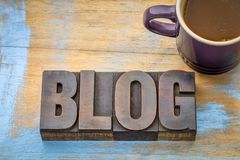 Περίληψη λέξης Blog στον ξύλινο τύπο Στοκ φωτογραφία με δικαίωμα ελεύθερης χρήσης