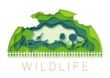 Περίληψη περικοπών εγγράφου Διάνυσμα 10 eps περιβάλλοντος ζωολογικών κή διανυσματική απεικόνιση