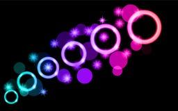 Περίληψη, πολύχρωμη, νέο, πορφυροί, ρόδινοι, φωτεινοί, καμμένος κύκλοι, σφαίρες, φυσαλίδες, πλανήτες με τα αστέρια σε ένα μαύρο υ διανυσματική απεικόνιση