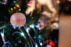 Περίληψη που θολώνεται του υποβάθρου χριστουγεννιάτικων δέντρων bokeh Νέο CE έτους Στοκ Φωτογραφίες