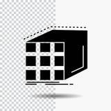 Περίληψη, συνάθροιση, κύβος, διαστατικός, εικονίδιο Glyph μητρών στο διαφανές υπόβαθρο r ελεύθερη απεικόνιση δικαιώματος