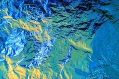 Περίληψη φύλλων αλουμινίου με τους τόνους του μπλε, πράσινος και κίτρινος στοκ φωτογραφία
