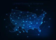 Περίληψη χαρτών των Ηνωμένων Πολιτειών της Αμερικής ΗΠΑ στο αφηρημένο πλαίσιο αστεριών και γραμμών Στοκ Φωτογραφίες