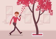 Περίπατοι ατόμων με το smartphone στην πρόσκρουση σε ένα δέντρο διανυσματική απεικόνιση