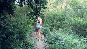 Περίπατοι κοριτσιών στα ξύλινα κιγκλιδώματα μέσω του πυκνού παλαιού πάρκου απόθεμα βίντεο