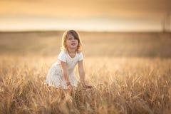 Περίπατοι κοριτσιών στον τομέα με τη σίκαλη στο ηλιοβασίλεμα, τρόπος ζωής στοκ φωτογραφία