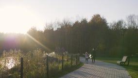Περίπατοι μητέρων με την κόρη στο πάρκο στο ηλιοβασίλεμα Ελαφριές διαρροές φύλλο φίλων πτώσης φθινοπώρου κάτω από το καιρικό δάσο φιλμ μικρού μήκους