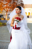 Περίπατοι νυφών γύρω από μια πόλη φθινοπώρου που κρατά μια φούστα του γάμου dre Στοκ φωτογραφία με δικαίωμα ελεύθερης χρήσης