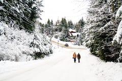 Περίπατος ανδρών και γυναικών σε μια σκηνή χειμερινού χιονιού Στοκ Φωτογραφίες