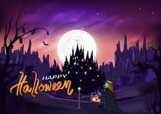 Περίπατος αποκριών, μαγισσών και γατών στο δρόμο στο κάστρο, μαγικός και την κολοκύθα, Jack-ο-φανάρι, σκηνή νύχτας σκιαγραφιών θα ελεύθερη απεικόνιση δικαιώματος