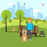 Περίπατος εραστών σκυλιών στη διανυσματική επίπεδη απεικόνιση πάρκων απεικόνιση αποθεμάτων