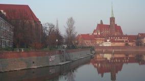 Περίπατος κοντά σε Ostrow Tumski σε Wroclaw φιλμ μικρού μήκους