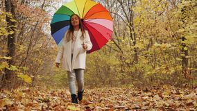 Περίπατος μέσω του πάρκου φθινοπώρου περπάτημα ομπρελών κοριτσ& φιλμ μικρού μήκους