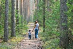 Περίπατος μητέρων και μωρών στον αγροτικό δρόμο χωρών στο δάσος πεύκων Στοκ Εικόνες