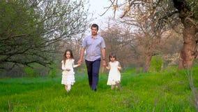 Περίπατος πατέρων και κορών στο πάρκο απόθεμα βίντεο
