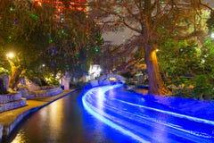 Περίπατος ποταμών του San Antonio τη νύχτα, Τέξας, ΗΠΑ στοκ εικόνα με δικαίωμα ελεύθερης χρήσης