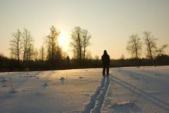 περίπατος σκι Στοκ Φωτογραφία