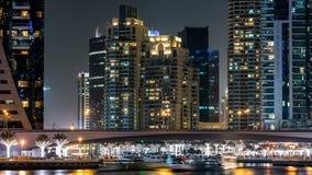 Περίπατος στη μαρίνα του Ντουμπάι timelapse τη νύχτα, Ε.Α.Ε. φιλμ μικρού μήκους