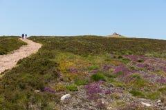 Περίπατος στο Hill Dunkery το υψηλότερο σημείο σε Exmoor πλησίον στην κεφαλή νάρκης Somerset Αγγλία UK το καλοκαίρι Στοκ Εικόνα