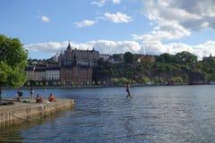 Περίπατος σχοινιών στη Στοκχόλμη στοκ φωτογραφία