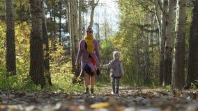 Περίπατος φθινοπώρου της γυναίκας και του μικρού κοριτσιού απόθεμα βίντεο