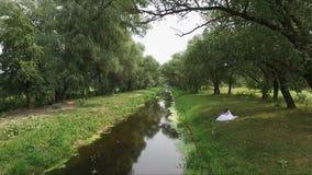 Περίπατος Newlyweds κοντά στον ποταμό - aero απόθεμα βίντεο