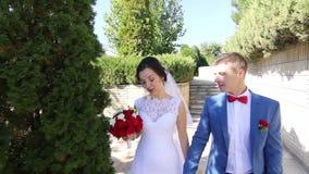 Περίπατος Newlyweds στο πάρκο σε αργή κίνηση απόθεμα βίντεο
