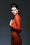 Περίπλοκη μοντέρνη γυναίκα να εξισώσει το λαμπρό φόρεμα - υψηλή κοινωνία Στοκ φωτογραφία με δικαίωμα ελεύθερης χρήσης