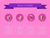Περίπου αφίσα κοκτέιλ με τα ποτά οινοπνεύματος καθορισμένα ελεύθερη απεικόνιση δικαιώματος
