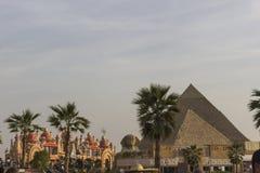 Περίπτερο του ΝΤΟΥΜΠΑΙ, Ε.Α.Ε. Αίγυπτος στο σφαιρικό χωριό στο Ντουμπάι, Ε.Α.Ε. το Gl Στοκ Εικόνες