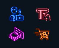 Περίπτωση επιχειρηματιών, πιστωτική κάρτα και εικονίδια χρημάτων του ATM Σημάδι κάρρων αγορών Απεικόνιση αποθεμάτων