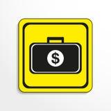 Περίπτωση με τα χρήματα διάνυσμα εικονιδίων εργαλείων Γραπτό αντικείμενο σε ένα κίτρινο υπόβαθρο ελεύθερη απεικόνιση δικαιώματος