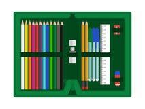Περίπτωση μολυβιών με τα εξαρτήματα διανυσματική απεικόνιση