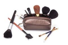 Περίπτωση Makeup με τις βούρτσες Στοκ Φωτογραφίες