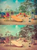 Περίσσευμα παιδικών χαρών παιδιών στο εκλεκτής ποιότητας σύνολο χρώματος Στοκ φωτογραφία με δικαίωμα ελεύθερης χρήσης