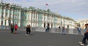 Περίφραξη στο τετράγωνο παλατιών της Αγία Πετρούπολης απόθεμα βίντεο