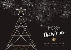 Περίληψη δέντρων deco καλής χρονιάς Χαρούμενα Χριστούγεννας απεικόνιση αποθεμάτων