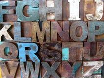 Περίληψη αλφάβητου - εκλεκτής ποιότητας ξύλινοι letterpress τύποι Στοκ Εικόνες