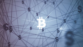 Περίληψη με τα συνδεδεμένα bitcoin εικονίδια Στοκ φωτογραφία με δικαίωμα ελεύθερης χρήσης